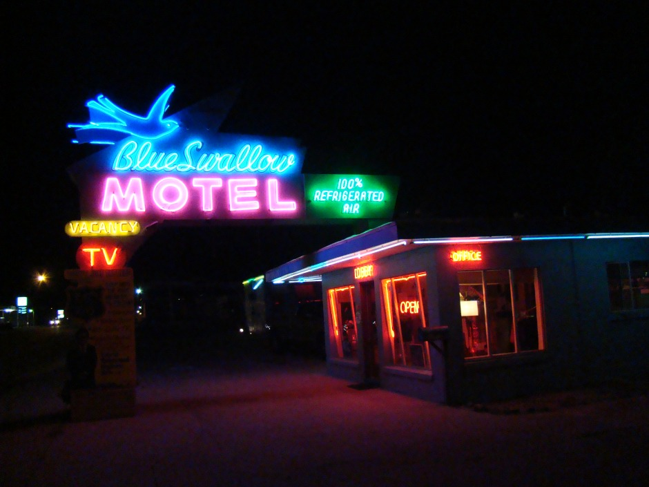 This is one of many of motels that light up bright at night with Neon.