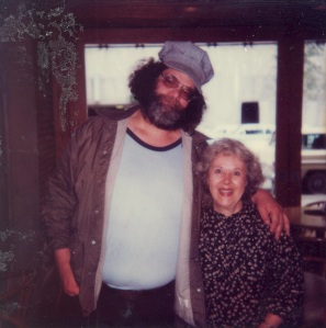 Tiny and my mom at Larry's Greenfront in Seattle, 1984