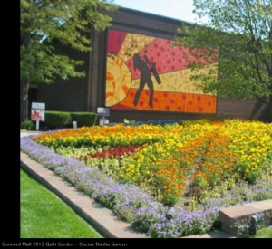 Have you ever seen anything like this? This is a 'quilt' of flowers at a local mall. It represents Elkhart's great annual Jazz Festival.