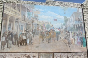 A mural depicting a celebration, the 4th no doubt