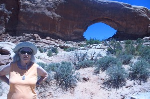 Cindy in front of the famous window  arch