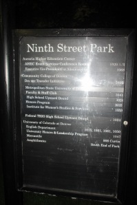 The plaque that tells the story of Ninth Street Park