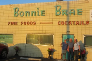 Cindy with her cousin Holly, and her husband Bill who teaches on line writing. The backdrop is the Bonnie Brae in an old Denver neighborhood of the same name. The Bonnie Brae opened in 1934.