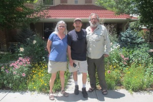 The three of us with Kevin in the middle in front of his house near Denver University