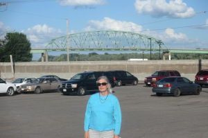 Cindy in front of the Norbert F. Becky bridge built in 1972 replacing the High Bridge