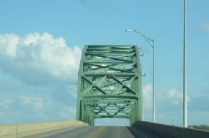 crossing the Becky Bridge heading to Rock Island